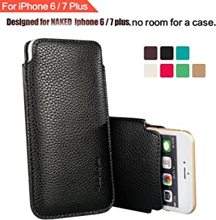 """Modos Logicos Synthetic Leather Protective Sleeve Pouch Case Compatible with iPhone 8 Plus iPhone 7 Plus iPhone 6 Plus 5.5"""", Professional Executive Case Design with Elastic Pull Strap - Black"""