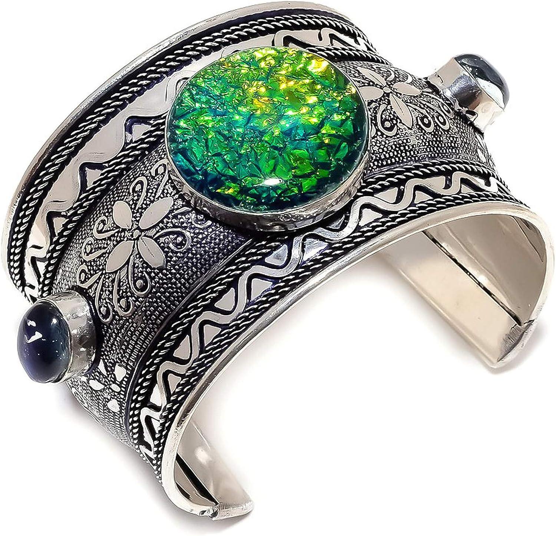 Store Triplet Fire Opal Gemstone 925 Special sale item Ads Sterling Silver Cuff Bracelet