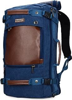 WITZMAN Canvas Backpack Travel Rucksack Backpack Vintage Duffel Bag Laptop Bag Casual Daypack (18.5 inch BLUE)