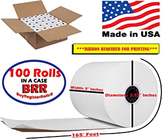 "100 Rolls 3"" x 165` 1-Ply Bond kitchen printer paper sp 700 Premium Quality Blended Bond Receipt Paper POS Cash Register Made in USA sp700 printer ribbon or printer ribbon erc30/34/38 BuyRegisterRolls"