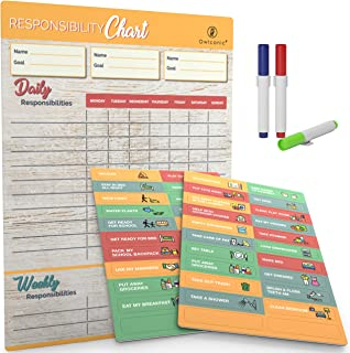 Magnetic Reward Chore Chart. Great Family Responsibility Planner for 1 to 3 Kids, with Markers, Behavior and Chores Magnets and Large 13 x 17 inch Dry Erase Organizer Board.