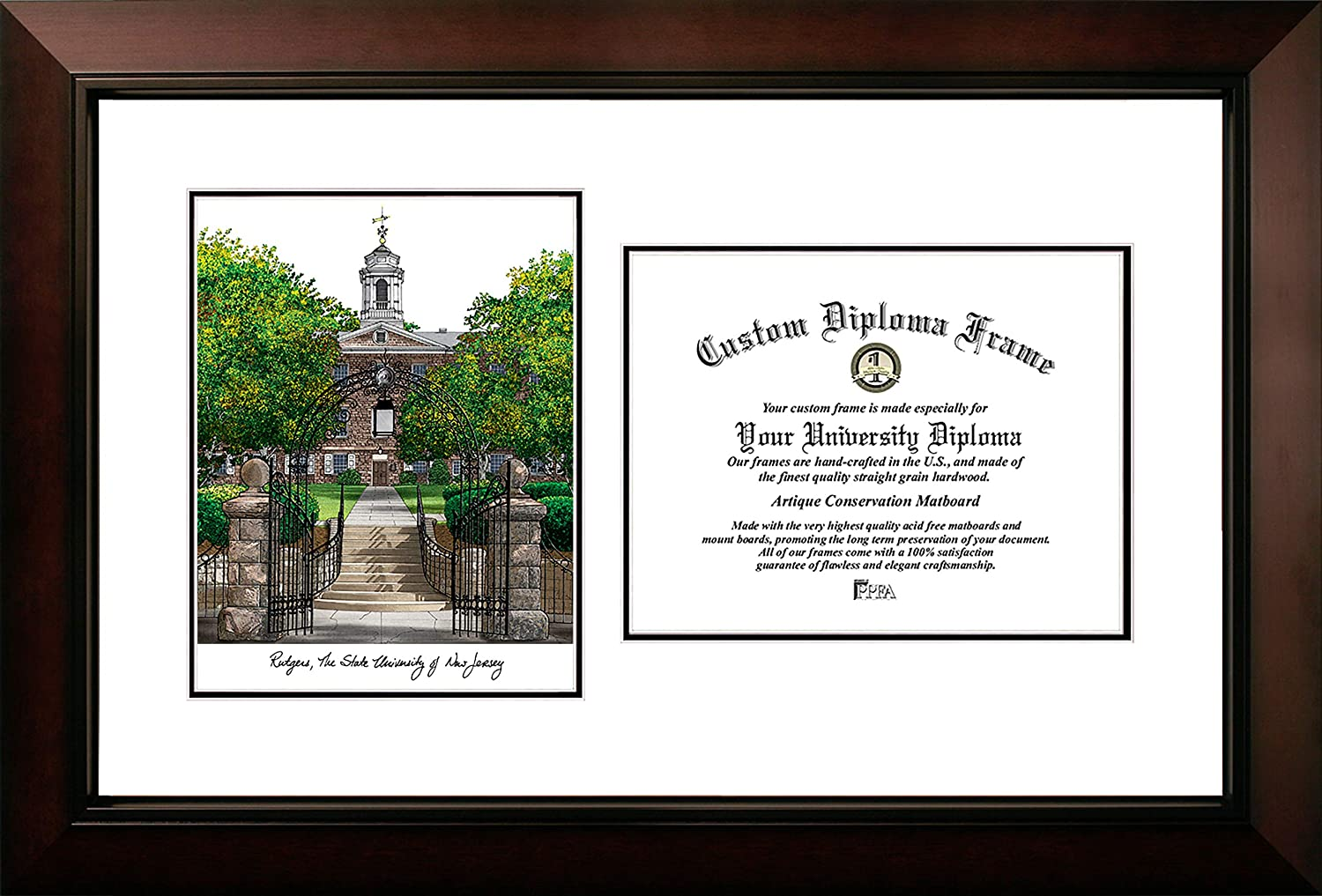 Campus Images NJ999LV Rutgers, State University of New Jersey, Legacy Scholar Diploma Frame, 8.5  x 11