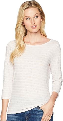 6c7e1972515 Pink Lemonade. 13. Three Dots. Saguaro Stripe 3 4 Sleeve British T-Shirt