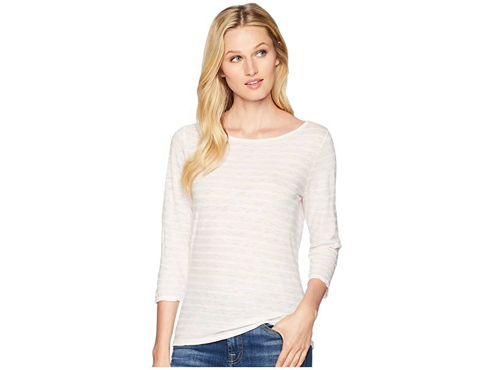 Three Dots Saguaro Stripe 3/4 Sleeve British T-Shirt (Pink Lemonade) Women
