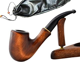 """""""Sherlock II"""" pear wood hand made wooden tobacco smoking pipes pipe + Pouch"""