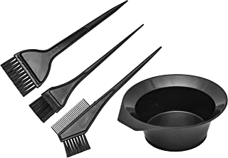 Hair Dye Color Brush and Bowl Set, Hair Color Brush Mixing Bowl Kit Perfect Tools for Hair Tint Dying Coloring Applicator. (4 Piece set)