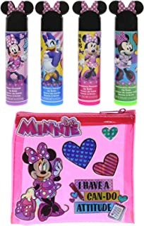 Townley Girl Minnie Mouse Sparkly Lip Balm for Girls, 4 Pack with Decorative Carrying Bag