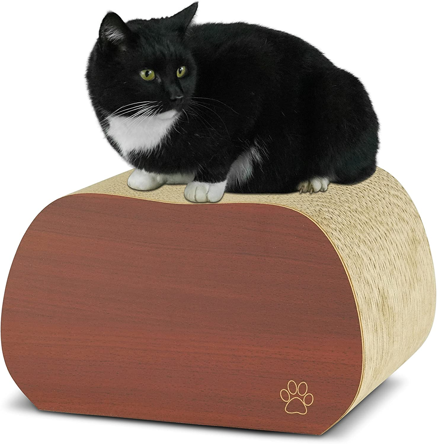 Oliver & Iris Premium Cat Scratcher Stone Shaped Block Lounger, Cherry Wood
