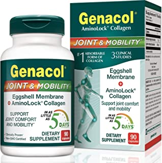 GENACOL Joint & Mobility Natural Eggshell Membrane + Hydrolyzed Collagen Supplement (90 Pills) | Fast Action Joint Pain Relief| Natural Source of Elastin, Glucosamine, Chondroitin & Hyaluronic Acid