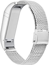 BaiHui Compatible with Fitbit Flex Band Women Men, Stylish Accessory Stainless Steel Bracelet Replacement Strap for Fitbit Flex No Tracker (Silver Large)