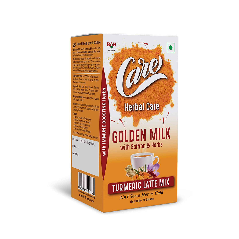 CARE Golden Milk Ranking Regular store TOP4 Turmeric Latte Mix With Saffron Immun Herbs -