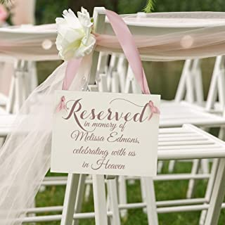 Personalized Wedding Memorial Sign Reserved - Reserved In Memory Of (Custom Name) Celebrating With Us In Heaven | Seat Chair Signage Loved Ones Who Died Handcrafted Paper Cardstock Banner
