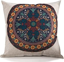 Chezmax Cotton Linen Blend Cushion Square Decorative Throw Pillow Cover Celadon Flower
