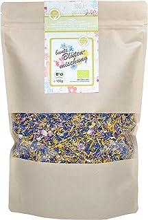 direct&friendly Bio bunte Blütenmischung - farbenfrohe Essblüten-Mischung aus Rosen-, Ringelblumen- und Kornblumenblütenblättern 100 g