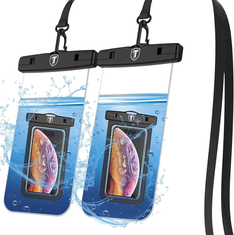 Tiflook Waterproof Pouch Phone Dry Bag Underwater Case for Motorola Moto G Power G Stylus G Play G Fast G7 G6 G5 E 2020 E6 E5 Z4 Z3 Phone Pouch for Beach with Lanyard Neck Strap, Clear (2 Pack)