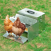 Yescom 12L Automatic Chicken Feeder Portable with Lock Rat Proof Weatherproof Aluminum Trough Poultry Farm Tank
