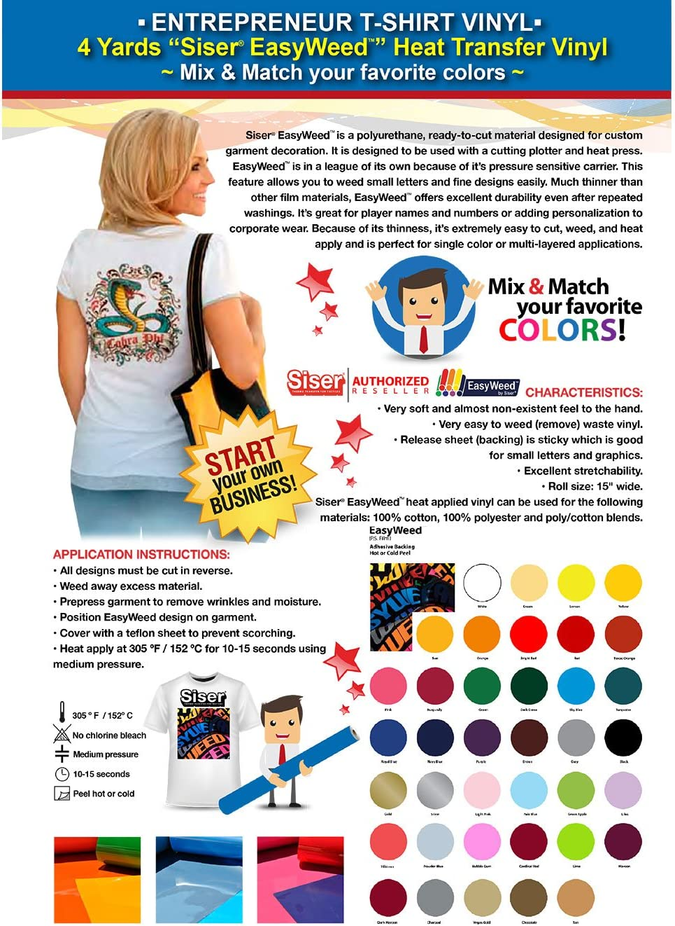 Siser EasyWeed Cash special price - GERCUTTER Store Entrepreneur Vinyl: 4 T-Shirt Limited time trial price