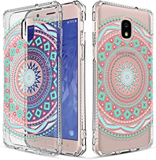 Wallme Samsung Galaxy J7 2018 Case/J7 Star/J7 Crown/J7 Refine/J7 Aero/J7 Eon/J7 Aura/J7 V 2nd Gen/J7 Top Case Fresh Pattern Design Full Body Protective+Transparent TPU for Girls Women-Pink/Green