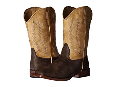 Roper Kids Billy (Big Kid) (Brown Faux Leather/Cream Shaft) Cowboy Boots