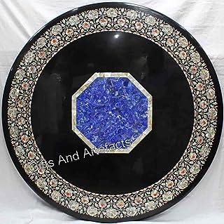 Mesa de cocina de mármol negro con piedras preciosas brillantes incrustadas de Indian Art 36 pulgadas