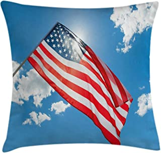 Newhomestyle American Flag Decorative Pillow Cover Festival Cushion Case for Indoor Outdoor Decor Cotton Bedding Pillowcase Double Sides Printed