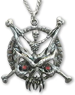 Gothic Skeleton with Crossbones and Demon Mask Pendant Necklace