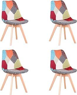 Uderkiny Pack de 4 sillas Silla de Comedor de Patchwork con Cojines, Adecuada para Comer en la Cocina de la Sala de Estar, etc (Rojo Patchwork)