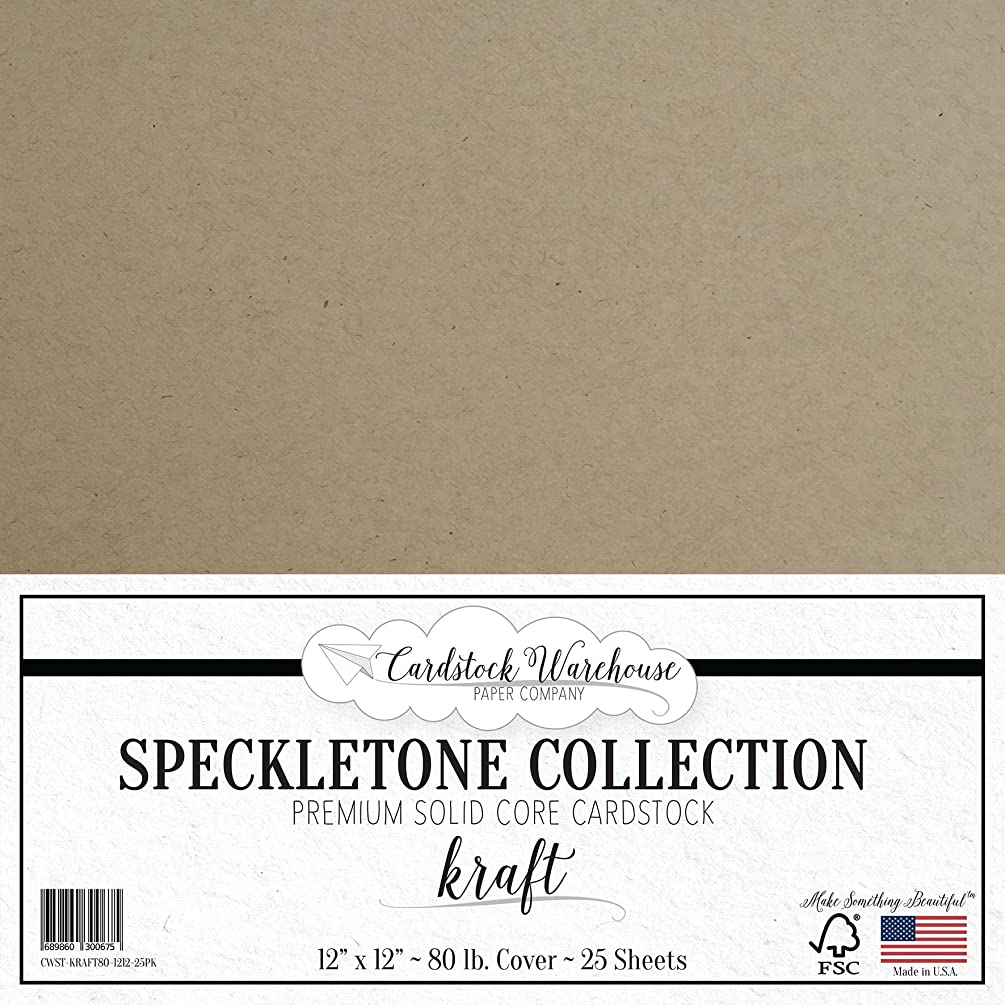 Kraft SPECKLETONE Recycled Cardstock Paper - 12 x 12 inch - Premium 80 LB. Cover - 25 Sheets