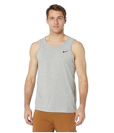 Nike Dry Tank Dri-FITtm Cotton Solid (Dark Grey Heather/White) Men