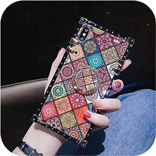 Bhttz ラグジュアリースクエアBlu-rayボヘミアンエスニックスタイルフレームケースforFor iPhone 6 7 8 Plus xr xs max x 11 Soft Silicon phone For Samsung Cover-...