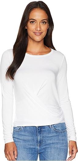Refined Jersey Long Sleeve Crop Top w/ Tie-Back