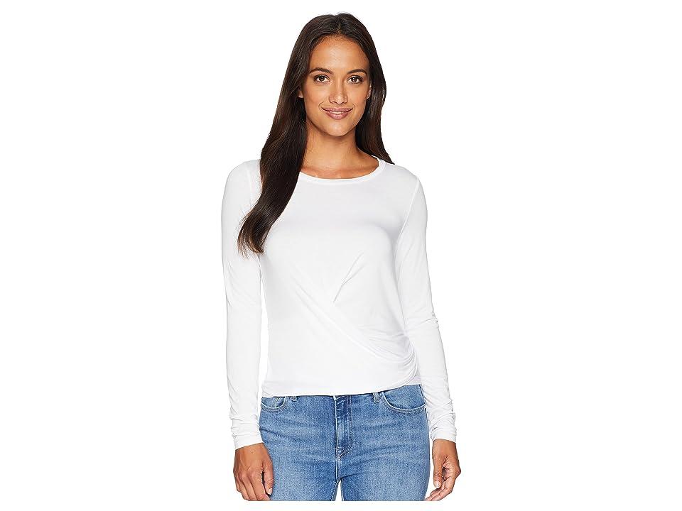 Three Dots Refined Jersey Long Sleeve Crop Top w/ Tie-Back (White) Women