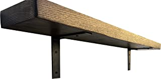 "DIY CARTEL Made in USA Industrial Forged Steel Floating Shelf L/J Bracket - Heavy Duty Rustic Shelf Brackets- Raw Hot Rolled Steel/Metal - Floating Shelf Hardware - 2 Pack (6"" x 6"" No Lip)"