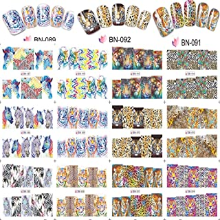 12 Sheets Animal Tiger/Lion/Zebra 3D Nail Art Stickers Decals Water Transfer-Water Transfer Nail Stickers and Decals-3D Nail Stickers for Women-Nail Stickers for Nail Art-DIY Nail Art Design