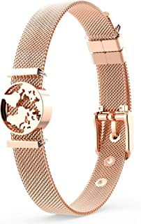 THIORA Armband mit Charms | Anhänger Charms | Rosegold Silber Gold | Armkette Armreif | Geschenk | Mesh Charmband Set Damen | Classic Line