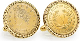 American Coin Treasures Gold-Layered 1800's Liberty Nickel Goldtone Rope Bezel Coin Cuff Links