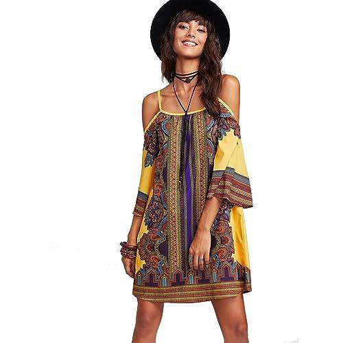 b017532e00 Milumia Women s Tribal Print Kimono Sleeve Geometric Tunic Boho Dress
