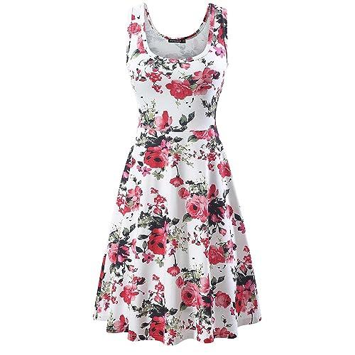 03d85d24a42 FENSACE Women s Sleeveless A line Waistline Midi Dress Casual Flared Tank  Dress