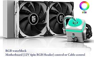 DEEP COOL Captain 240X Blanca RGB Refrigeración Líquida para CPU, Sistema de Anti-Fugas, Controlador de Cable o Controlado por Placa Base con RGB Header de 4pin-12V, Garantía de 3 Años