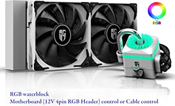 DEEPCOOL Captain 240X WH RGB AIO CPU Liquid Cooler, Anti-Leak Tech Inside, Stainless Steel U-Shape Pipe, Cable Controller and Motherboard with 12V 4-pin RGB Header Control, 3-Year Warranty