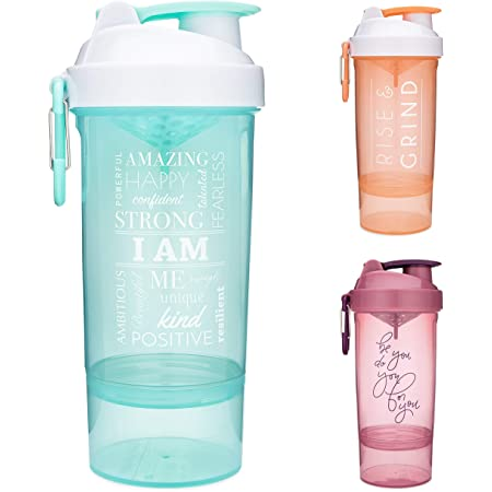 Dual Mixing Technology with Shaker Balls /& Mixing Grids Included Twist and Lock Protein Box Storage Included Artoid Mode Inspirational Fitness Workout Sports Protein Shaker Bottle 24-Ounce