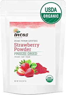 Incas 100% USDA Organic Certified Freeze Dried Strawberry Powder, 8 Ounces, High in Vitamin C, Organic Strawberry Freeze D...