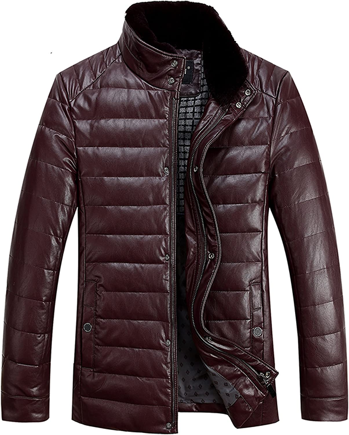PENER Winter Men's Fashion Casual Leather Down Jacket