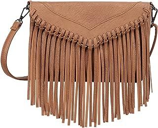Women's PU Leather Hobo Fringe Crossbody Tassel Purse Vintage Small Handbag