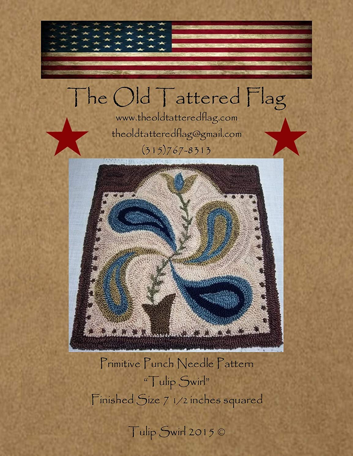 The Old Tattered Flag OTF1507 Tulip Swirl Punch Needle Pattern