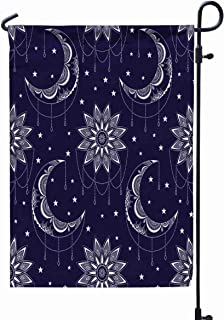 GROOTEY Garden Flag Stand,Welcome Garden Flag Pattern Vintage Moon Sun Stars Boho Chic Print Small Geometric Details Elements Abstract Magic Night 12X18 Inches,Garden Flag Set,Black Green