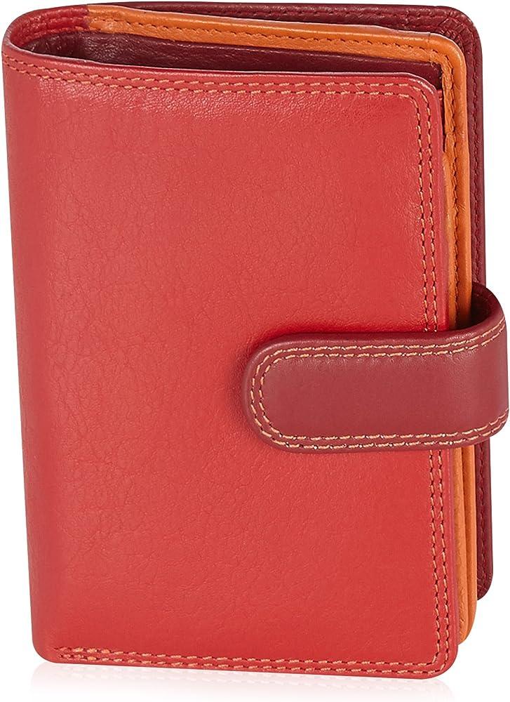 Visconti portafoglio, porta carte di credito di pelle, da donna, a piegatura doppia , protezione rfid, rosso