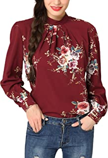 Women's Flower Print Long Sleeve Stand Collar Casual Chiffon Blouse Shirt Tops