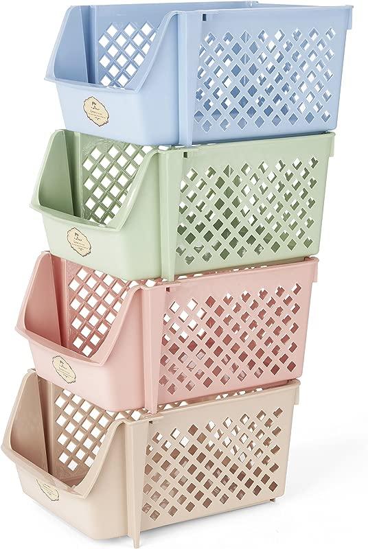 Titan Mall Stackable Storage Bins For Food Snacks Bottles Toys Toiletries Plastic Storage Baskets Set Of 4 15x10x7 Inch Bin Blue Green Pink Khaki Color Shelf Baskets