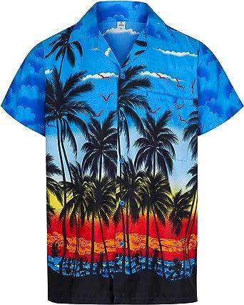 Redstar Fancy Dress - Camisa Hawaiana de Manga Corta - para Hombre - Palmeras - Todas Las Tallas - Azul - XL